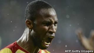 Seydou Kaïta, le capitaine des Aigles, lorsqu'il a marqué contre le Ghana pendant la CAN.
