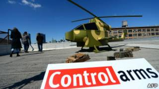 Military helicopter near the UN in New York, AFP