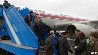 Passageiros estrangeiros deixam a Corea do Norte (foto: APF)