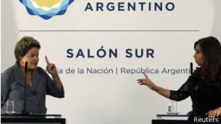 Dilma e Cristina Kirchner. Reuters