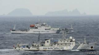 Barcos chinos cerca de las islas disputadas
