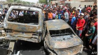 Imagen de un atentado en el distrito de ciudad Sader el jueves