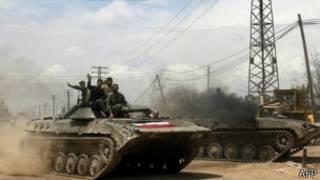 Xe tăng của Quân đội Syria ở Qusair