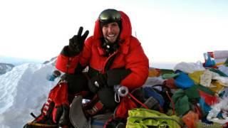 David Liaño González en la cumbre del Everest