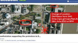 Reprodução de página no Facebook convocando protesto em Londres