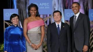 Ông Trương Tấn Sang và phu nhân với tiếp xúc vợ chồng ông Obama bên lề hội nghị Apec 2011