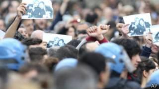 Protestas contra la mafia en el sur de Italia