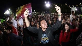 Ecologistas protestando por el fin de Yasuní