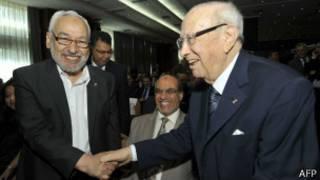 Rached Ghannouchi et Beji Caïd Essebsi avant un débat sur la situation en Tunisie