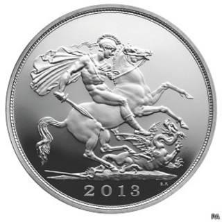 20镑银币上将刻有圣乔治和龙的经典图案。