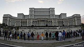 Manifestantes en Bucarest