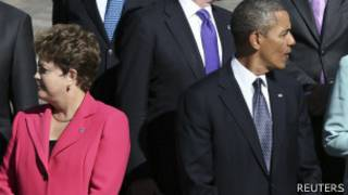 Dilma e Obama olhando para lados opostos   Reuters