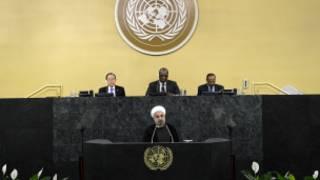 Rouhani akihutubia Baraza Kuu la Umoja wa Mataifa