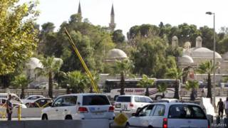Машины инспекторов ООН в Дамаске