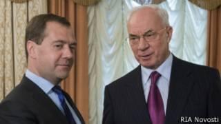 Премьеры России и Украины Дмитрий Медведев и Николай Азаров в Калуге 15 октября 2013 года