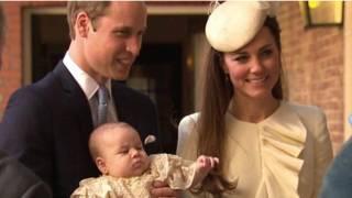 英國劍橋公爵夫婦抱著喬治王子前往接受洗禮