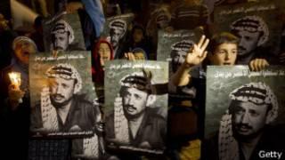 Hombres con carteles con la cara de Arafat