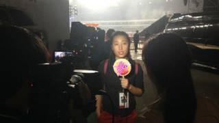 瞿婧宇在前不久的汪峰演唱会上代表主办方接受媒体采访
