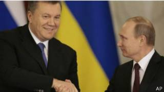 Putin and Yanukovych in a meeting in Moscow
