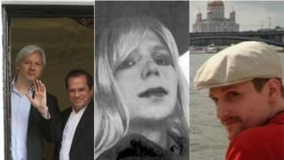 Julian Assange (com ministro equatoriano), Chelsea Manning e Edward Snowden. Foto: montagem