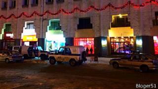 Наряд полиции у мурманского кафе Меридиан