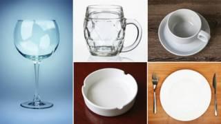 Vasos, platos y tazas vacías