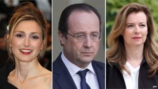 Президент Олланд отказывается обсуждать его отношения с Жюли Гайе (слева) и Валери Триервейлер (справа)