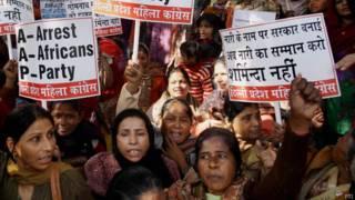 सोमनाथ भारती के ख़िलाफ़ प्रदर्शन