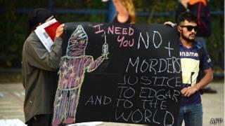 Protesta frente a la embajada de EE.UU. en México