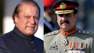 पाकिस्तान के प्रधानमंत्री नवाज़ शरीफ और सेना प्रमुख जनरल राहील शरीफ