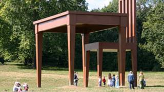 Artist Giancarlo Neri's work 'The Writer': 10m-high chair and 7.30m table, made of wood and steel