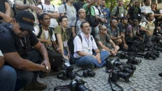 Jornalistas brasileiros. Foto: AP