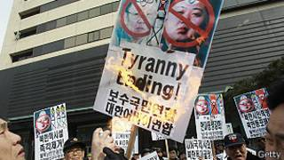 उत्तर कोरिया विरुद्धको प्रदर्शन