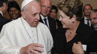 Papa Francisco e Dilma Rousseff. Foto: Reuters