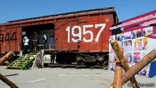 Вагон-теплушка в Грозном, установленный в память о депортации чеченцев и ингушей в 1944 году