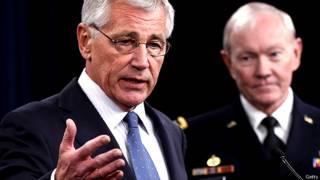 अमरीका रक्षा मंत्री चुक हेगल और ज्वाइंट चीफ़ आफ़ स्टाफ़ के अध्यक्ष जनरल मार्टिन डिंपसे