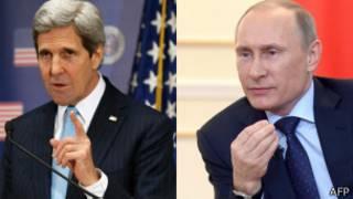 अमेरिकी विदेशमन्त्री जन केरी र रुसी राष्ट्रपति भ्लादिमिर पुटिन