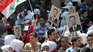 Partidarios de Asad en Damasco