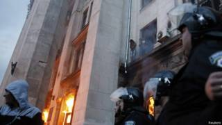 Incêndio em Odessa, na Ucrânia (Reuters)