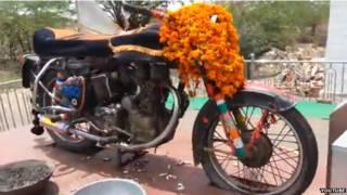 सड़क हादसे में मारे गए ओम बना की मोटर साइकिल