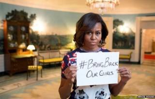 Michelle Obama na campanha pelo resgate das jovens nigerianas sequestradas (Foto: Casa Branca)