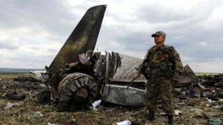 Обломки сбитого на Украине Ил-76