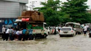 Floods in Rangoon on 12 June 2014
