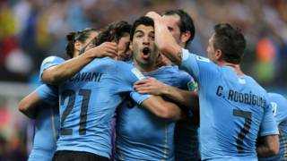 Суарес и игроки Уругвая