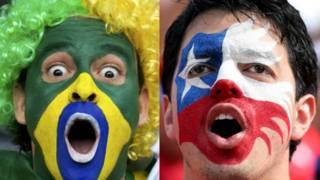 Torcedor brasileiro e chileno | Crédito: Reuters e Getty