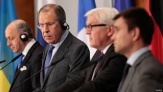 Лавров и министры ФРГ, Франции и Украины