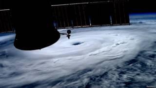 El huracán Arthur desde la Estación Espacial Internacional