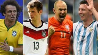David Luiz, Thomas Müller, Arjen Robben, Lionel Messi