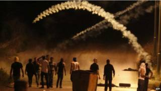 इसराइल सैनिकों के साथ फलस्तीनियों की मुठभेड़