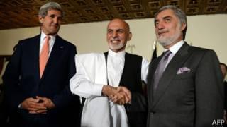 John Kerry, Ashraf Ghani y Abdullah Abdullah